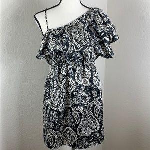 Motherhood Black/white one shoulder ruffle dress